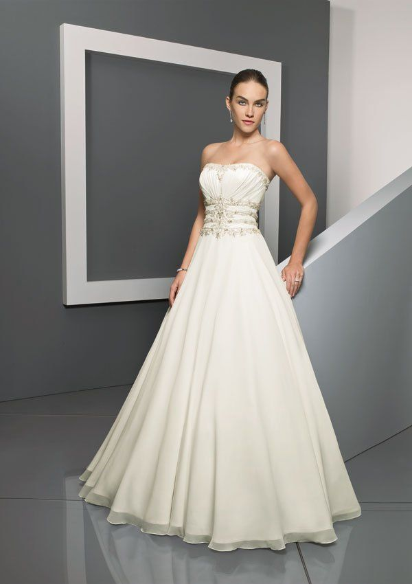 2017 Vestidos De Noiva Back In Zipper Decoration Sashes Sleeveless Strapless A-Line Chiffon And Satin Wedding Dresses Plus Size