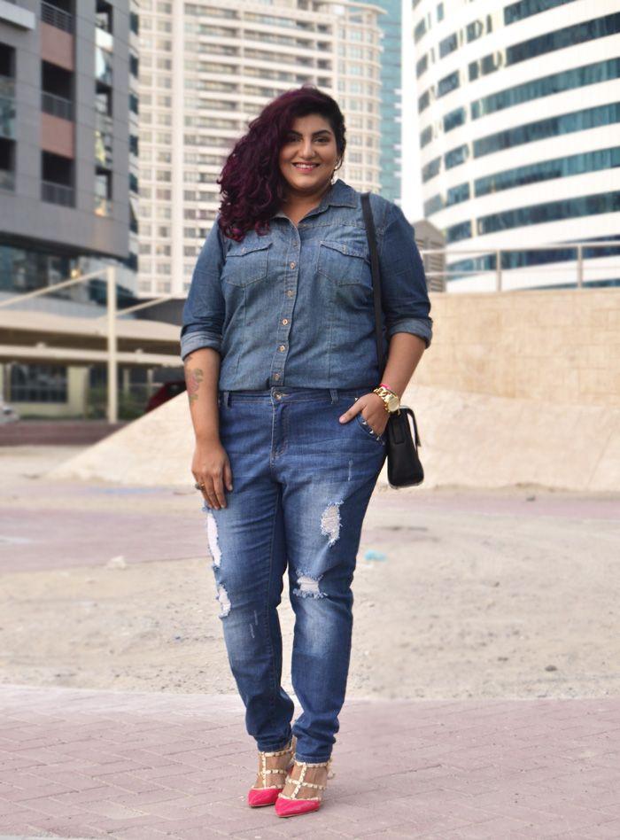 Double Denim: Plus size boyfriend jeans