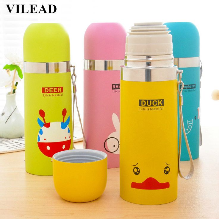 VILEAD Korean Cute Adorable Animal Bullet Portable Vacuum Cup Cartoon Child Cup Fashion Women's Cup #Affiliate