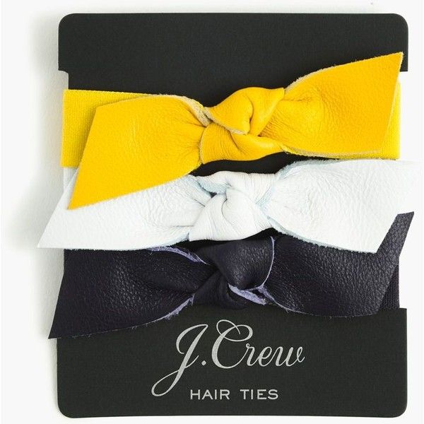 J.Crew Leather Bow Hair Ties ($22) ❤ liked on Polyvore featuring accessories, hair accessories, elastic hair ties, ponytail ties, hair ties, j crew hair accessories and ponytail hair ties