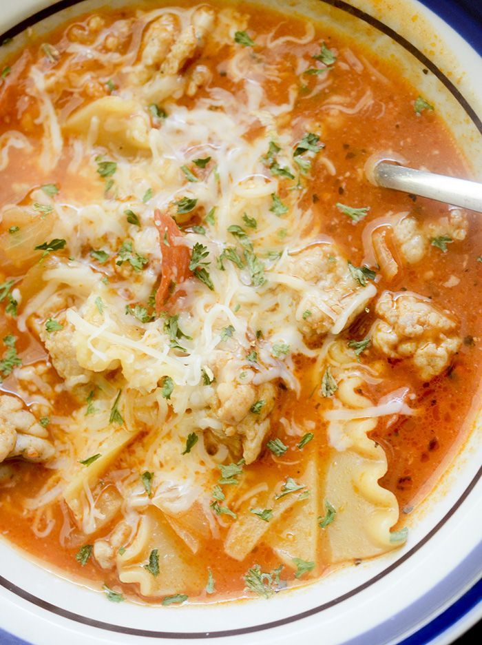 Weight Watchers Lasagna Soup. I modified to be Vegetarian. No meat and veg broth instead of chicken. Delicious!