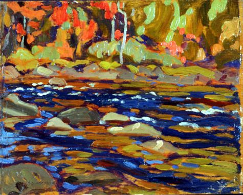 This is a painting called Autumn Algoma by A.Y. Jackson. The first thing that I notice is colour. I just the love the variety of colours used and how they all work together to create nature.