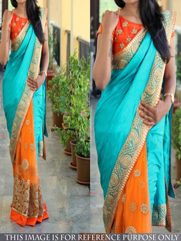 Occult Sky Blue Silk Designer Saree comes with Orange Color Banglory Silk Blouse. It contained the work of Embroidery with Lace border.The Blouse which can be customized up to bust size 40