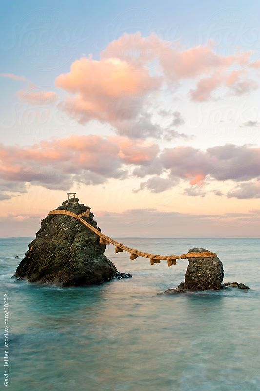 Central Honshu (Chubu), Ise-Shima, Futami, Meoto-Iwa (Wedded Rocks), these two rocks are considered to be male and female and have been joined in matrimony by shimenawa (sacred ropes), which are renewed in a special festival each year