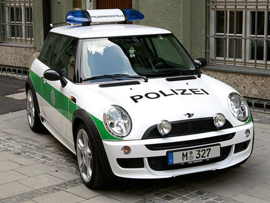 Mini Polizei Germany. Not an old Mini, but couldn't resist. Can't imagine my area using these as cop cars!