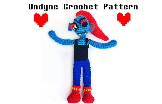 Undertale Amigurumi Pattern : Undyne Crochet Pattern Undertale Amigurumi Kawaii ...