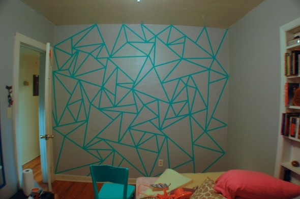 Could be done with painters tape? [What a great idea! Jazz up your residence hall room in a way that follows policy!]