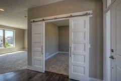 Barn Doors To Office White Barn Doors With Brushed Nickel Hardware Entry Area White Barn Door Barn Door Flex Room
