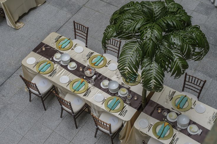 Overhead view of long tables