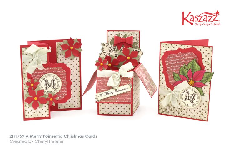 This project sheet will show you how to create three different styles of cards. One cascading side fold card, a pop-up box card and a standard portrait card. You will learn how to use the basic flower punch to create these easy Poinsettia flowers.
