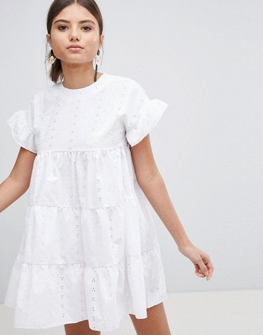 ffbcf8fb315a PrettyLittleThing Broderie Smock Dress in 2019