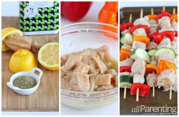 allParenting Grilled chicken & vegetable kabobs prep collage
