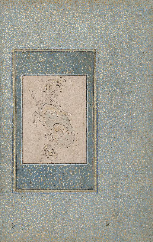 عمل صادقی بیک،ربع اول قرن 17 میلادی، موزه هنر و تاریخ ژنو Sâdiqî Beg Style Isfahan Un kylin, 1er quart 17e s. Feuille: 91 x 66 mm (dessin); feuille: 252 x 161 mm (montage) Dessin à l'encre noire réhaussé de teintes bleutées, sur papier monté sur carton bleu clair avec encadrement bleu foncé, giclées à l'or. Mention obligatoire : Cabinet d'arts graphiques des Musées d'art et d'histoire, Genève, Legs Jean Pozzi