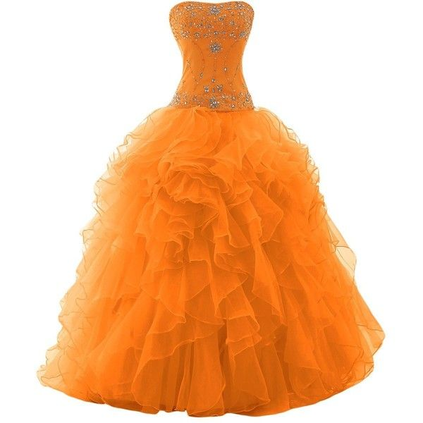 Sunvary Organza Ball Gown Skirt Prom Gowns Quinceanera Dresses Evening... ($186) ❤ liked on Polyvore featuring dresses, gowns, fairies, gown, ruffle, sparkle, orange prom dresses, quinceanera dresses, orange gown and organza prom dress