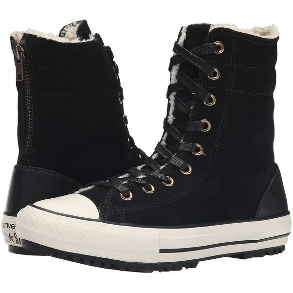Converse Chuck Taylor All Star Hi-Rise Boot Women's Classic Shoes ($51) ❤ liked on Polyvore featuring shoes, boots, black, lace up fur boots, black laced boots, black shoes, converse shoes and zipper boots