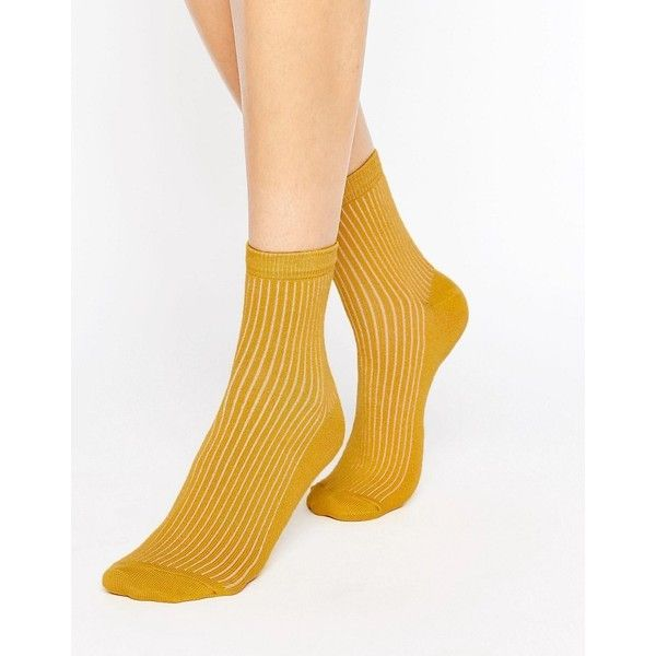 ASOS Ribbed Ankle Socks (59.930 IDR) ❤ liked on Polyvore featuring intimates, hosiery, socks, yellow, cuff socks, ankle high socks, ankle high hosiery, yellow socks and asos socks