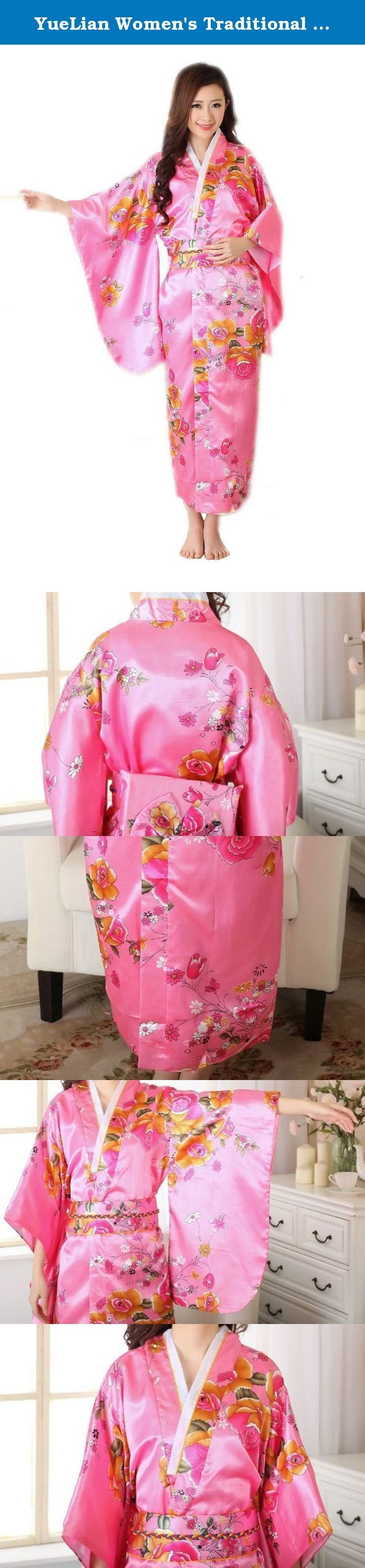 YueLian Women's Traditional Japanese Kimono Bathrobe Yukata Kimono Dress (Pink). Material: Brocade Notes: 1. Color: Due to lighting effects, monitor's brightness / contrast settings etc, there could be some slight differences in the color tone of the pictures! 2. Size: Manual measuring, please allow 1-2cm error. .