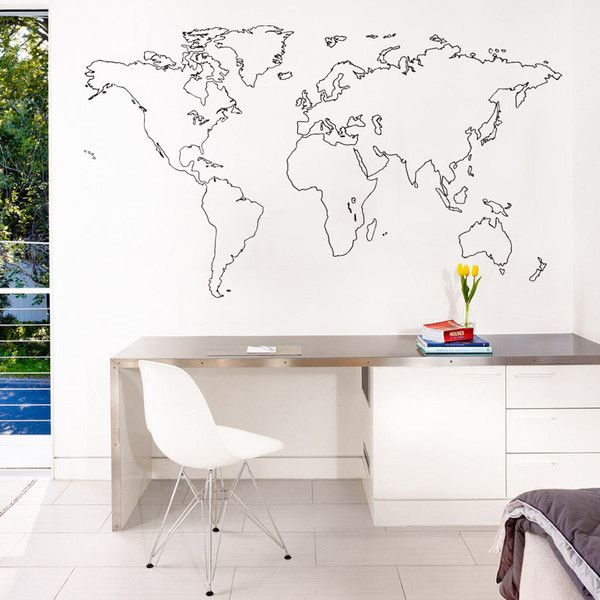 http://vinylimpression.co.uk/ This simple line design of the world creates a contemporary and clean finish to any modern interior and is ideal for drawing the eye on a feature wall. The minimalist design allows the wall to show through, giving the impression that the outline is painted on. This wall sticker is ideal for homes, specifically bedrooms, living rooms and home offices as well as for commercial properties looking to expand their office branding.