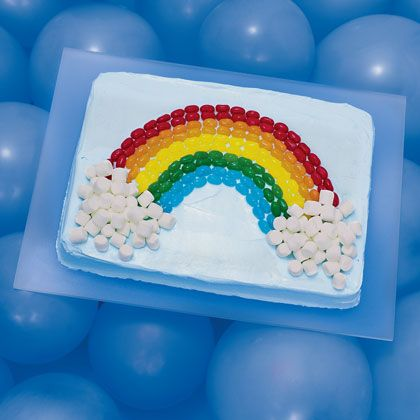 What's at the end of your little one's rainbow? Use your child's favorite treat to make this cake unique!