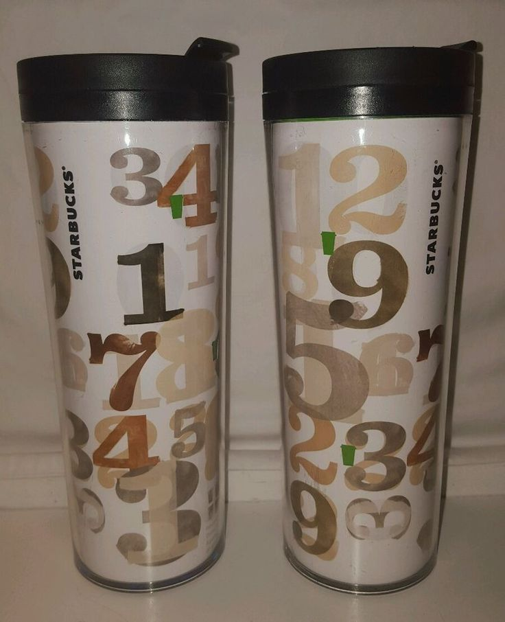 2 STARBUCKS Numbers Coffee Travel Tumblers 2011 16oz BPA Free Insulated No Spill #Starbucks