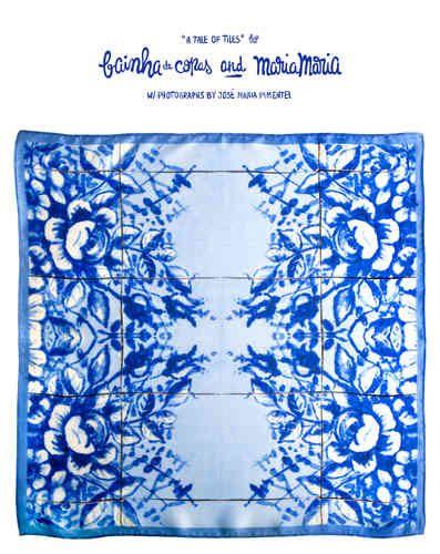 Bainha de Copas + Maria Maria Os lenços de seda são uma homenagem clássica à Azulejaria portuguesa. Transportam o imaginário desta arte e tradição de uma forma simultaneamente delicada e evidente, tornando-se imediato o seu reconhecimento em qualquer parte do mundo. Esta é uma peça colaborativa da coleção A Tale of Tiles, resultado da parceria entre a BAINHA DE COPAS e a stylist e designer MARIA MARIA c/ fotografias de José Maria Pimentel. Saiba mais em Coleções e Parcerias.