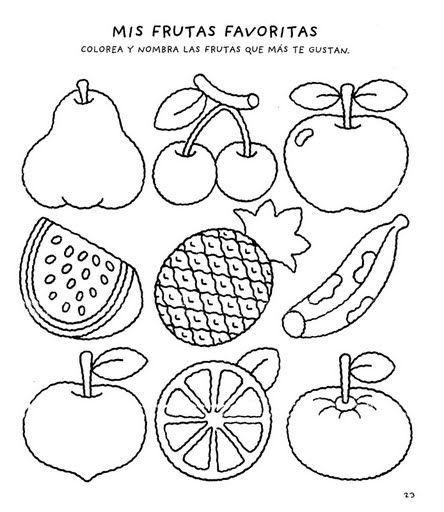 Menta Más Chocolate - RECURSOS PARA EDUCACIÓN INFANTIL: Actividad para Colorear Las Frutas