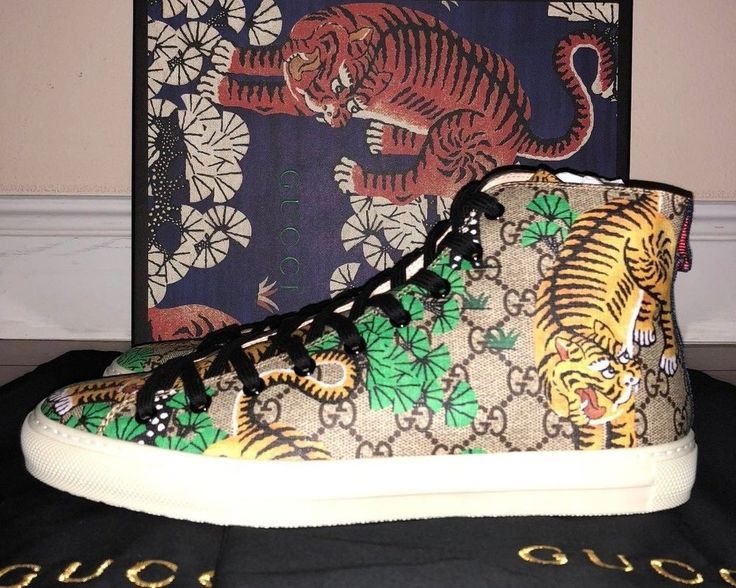 Mens Gucci High Top Beige Supreme GG Bengal Tiger Calf Leather Sneakers  #Gucci #AthleticSneakers