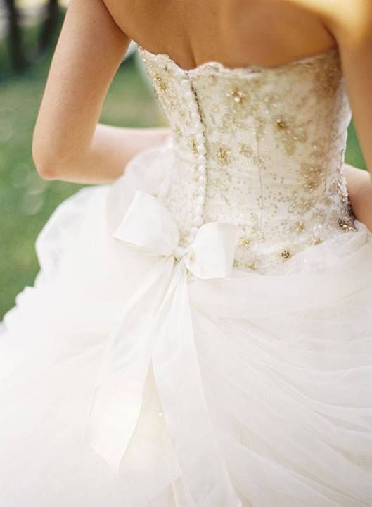 White Wedding Dress With Gold Accents - Locallygrownweddings.com