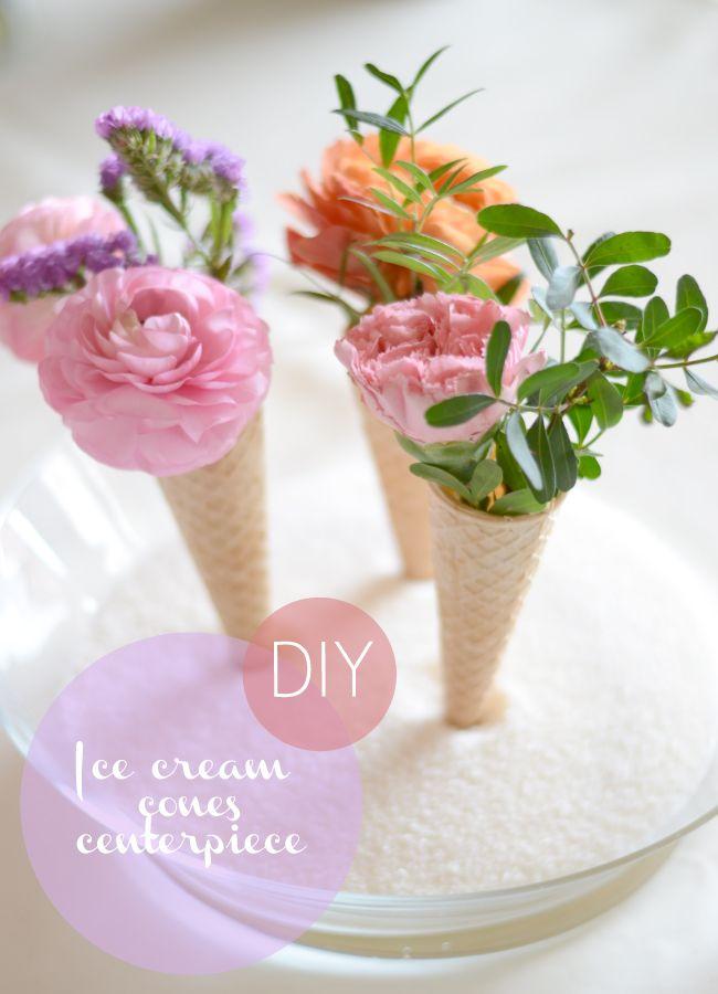DIY: ice cream cones centerpiece