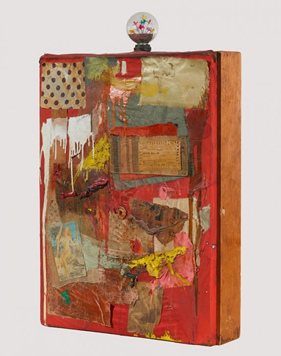 Robert Rauschenberg - 1954, Untitled. Combine: oil, paper, fabric, newspaper, printed reproduction with novelty light bulb (69.9 x 53.3 x 12.1 cm)