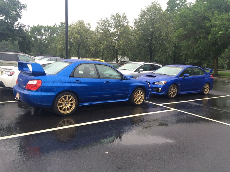 An '04 STI hanging out with a '15 Launch Edition STI, ‪#‎ItsaSubieThing‬. (photo courtesy: the Subaru Social Media Team)