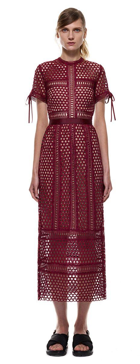 panelled column midi dress in burgundy