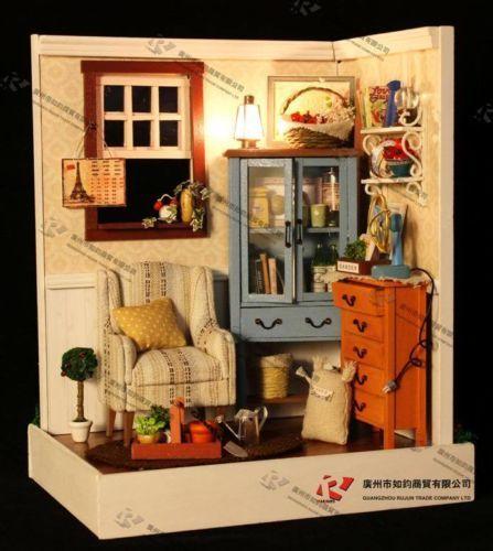 DIY Wooden Dollhouse Miniature Kits Lodge Town Series Dawn Song Great Kits NEW   eBay