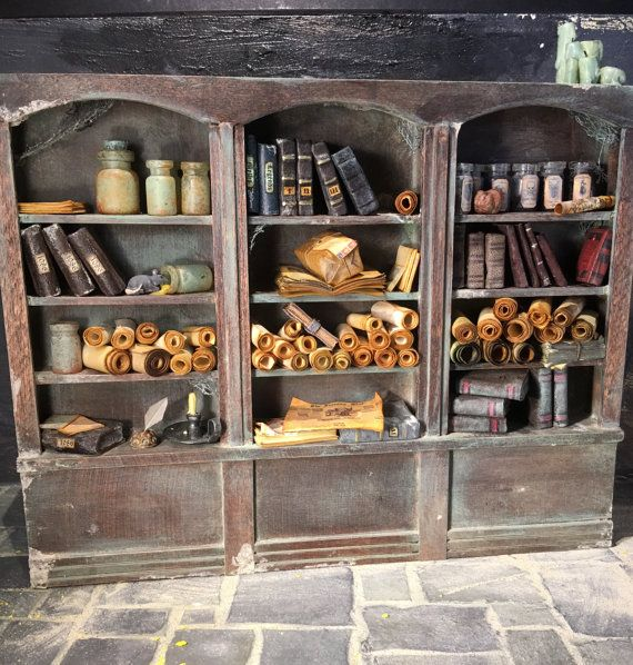 Overflowing Old bookcase, Miniature, Dollhouse, 1/12 scale, Scrolls, Potions, leather books,  papers, Harry Potter, Victorian, spooky