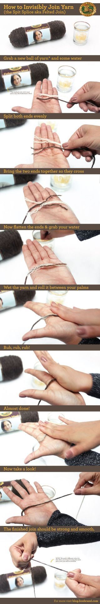 Why have I never thoughts of this? I just posted about the weaver's knot a few posts back, but this is tons better. Source: lionbrand.com