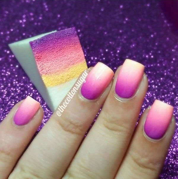 Make your nails more exciting with this gradient nail art in violet, red violet, pink, light pink and yellow polish combination.