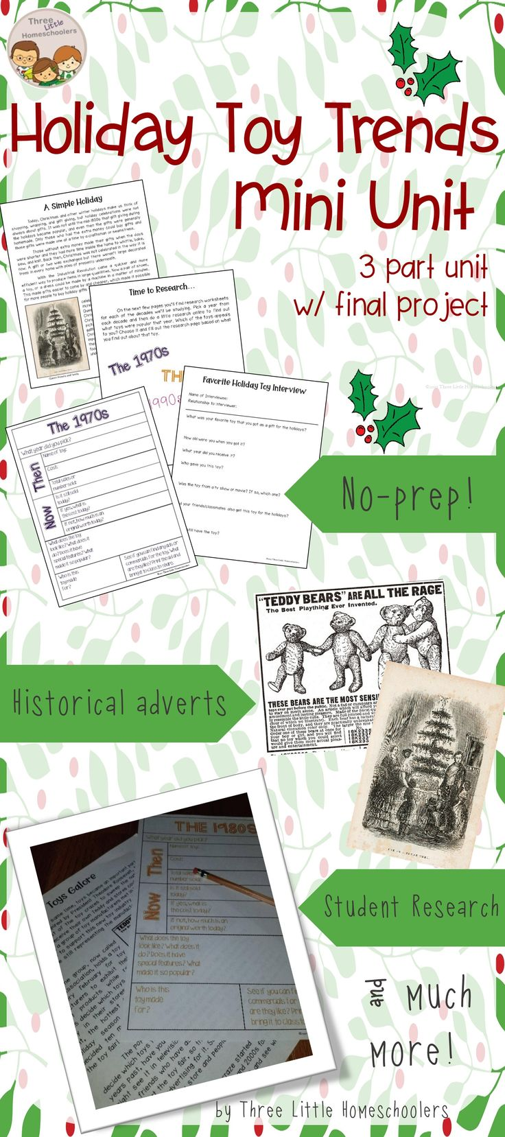 Thematic Holiday Unit for Middle and High School. Follows Christmas Toy Trends from 1970s-2000s. Includes reading passages, powerpoint, student worksheets, research project, and more!