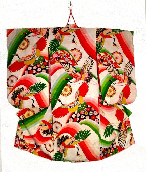 Vintage japonais en soie Kimono - petit adulte / enfants - ère Taisho - 1920 - grues