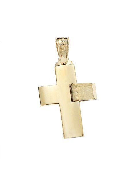 Σταυρός Τριάντος Βαπτιστικός Χρυσός 14Κ Αναφορά 021299 Ένας βαπτιστικός σταυρός του οίκου Τριάντος , για αγόρι ή για άνδρα κατασκευασμένος από Χρυσό 14Κ σε κίτρινο χρώμα ο οποίος μπορεί να συνδυαστεί με αλυσίδα Χρυσή 14Κ ή με δερμάτινο κορδονάκι στο χρώμα της αρεσκείας σας.