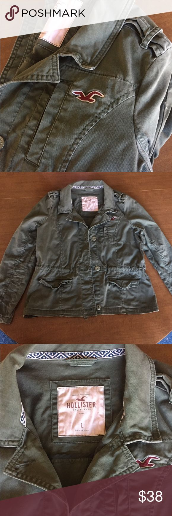 Hollister large army green utility jacket! Hollister, women's large, green utility jacket, button front, worn once, perfect condition :) also could fit a medium! Hollister Jackets & Coats Utility Jackets