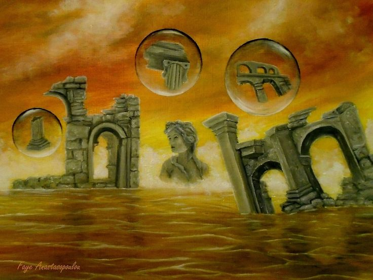 Painting, monuments,temples,ancient,historical,old,era,archeological,finds,antiquity,classic,oldtimes,statue,greek,godess,european,architecture,fantasy,scene,bubbles,seascape,water,sky,clouds,picturesque,whimsical,vibrant,vivid,colorful,orange,golden,impressive,cool,beautiful,powerful,atmospheric,celestial,mystical,dreamy,contemporary,imagination,surreal,figurative,modern,fine,oil,wall,art,images,home,office,decor,artwork,modern,items,ideas,for sale,redbubble