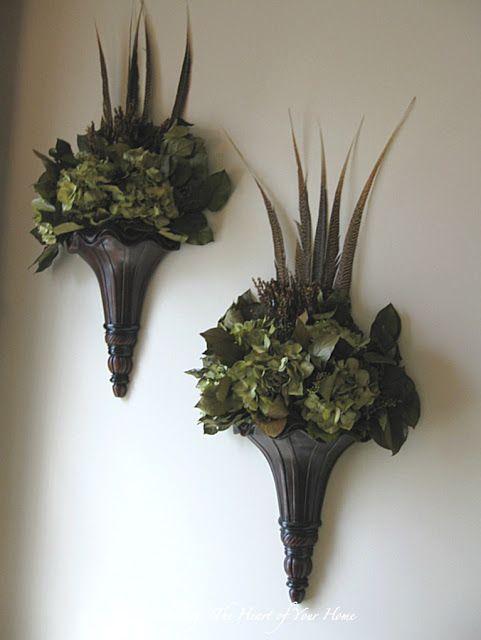 25 best Wall Sconces images on Pinterest | Flower ... on Silk Flower Wall Sconces Arrangements id=98037