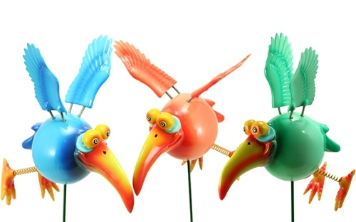 Dodo Bird Garden Stakes Blue & Orange & Green Long Beak  sarashideaway.com
