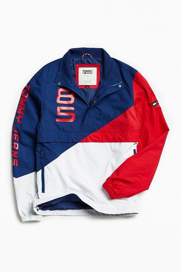 e4d033b894074c Tommy Jeans Retro Block Anorak Jacket  men  clothing  blue  red  sleeve