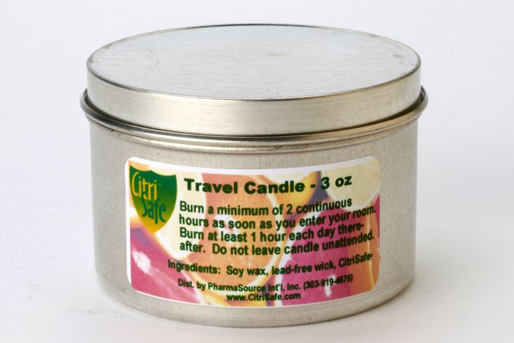 Travel Size Candle (3 oz) - This candle is just like our Maintenance Candle, only smaller!  Rely on our specially formulated soy-based candles to help maintain a pleasant environment. They emit a safe, odorless concentrate of citrus and vegetable extract. Whether at home, work or traveling, you can easily create comfortable surroundings to help you relax and thrive. Produced in a tin container with a lid. Burn 3 hours the first day and 1 hour every 1 to 2 days thereafter. Lasts up to 18…