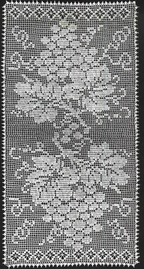Filet Crochet Table Runner Grapes