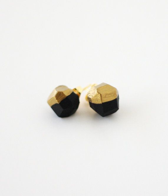 black gold dipped earrings by amerrymishap on Etsy, $16.99