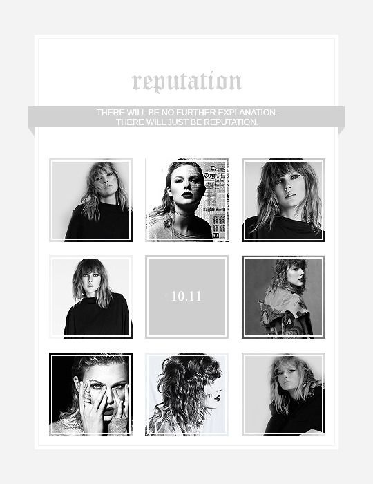 """ Reputation, the new album from Taylor Swift. Out November 10. """