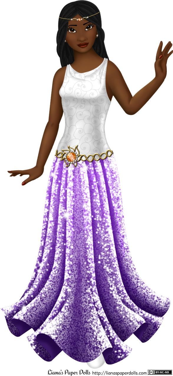 INTRODUCING LEYLA An adult female paper doll in a white and purple gown. She has dark brown skin and black hair arranged in several small box braids that curve gently around her face and fall past her shoulders. Her eyes are brown with tiny gold flecks, and she has sparkly gold eyes shadow and her lips are full