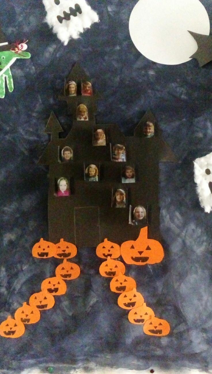 Castelo halloween com fotos (assustadoras) dos meninos da sala